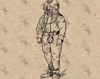 Vintage image Diver Diving Suit Scuba picture Instant Download printable Retro clipart digital graphic scrapbooking decor t-shirts HQ300dpi