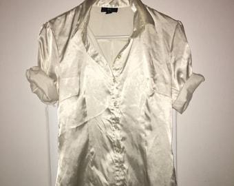 Pearl Satin Button Down Shirt