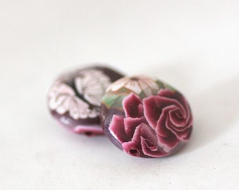 Polymer Clay Beads, Lentil Beads, Bead Pair,  Roses on Crimson, 2 Pieces