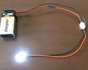 LED Light Assembly with micro switch and 9 volt battery snap connector