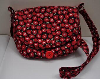 Poppy fabric handbag, handmade