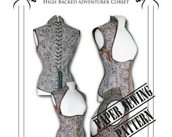 "Steampunk ""Asylum"" Corset Sewing Pattern High Full  Back - Extra Large 38-40-42"" corset waists"