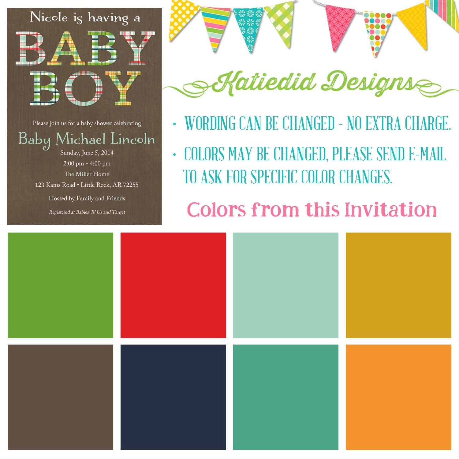 plaid baby boy shower invitation couples coed gender neutral reveal ...