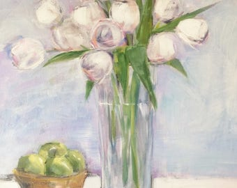 Acrylic painting, 20x16 inch, contemporary flower painting, still life, tulips, flowers and vase painting,  impressionism