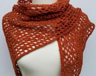 Crochet wool shawl in saffron colour, crochet wrap, crochet scarf, winter accessory, gift for women