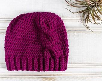 Big Twist, Crochet Cable Beanie in Boysenberry, Women's  Hat, Pink, Purple, Magenta, Crochet Hat, Ready to Ship
