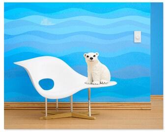Eames mid century modern baby animal nursery art print: Just Chillin'