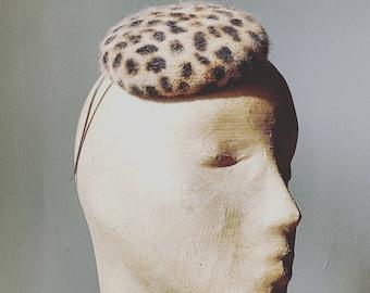 Leopard Print Angora Button Beret