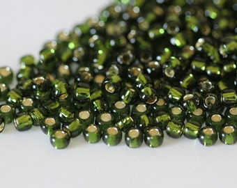 TOHO Seed Bead 6/0 ~ Silver-Lined Olivine ~ 8g-24g   (TR-06-37) D-2