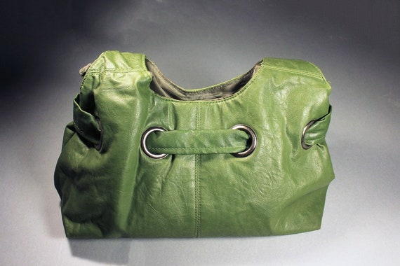 Green Handbag, Mondo, Purse, Large Bag, Hobo Bag, Shoulder Bag, Faux Leather, Woman's Gift
