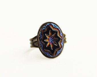 Iridescent Art Deco Ring Black Star Ring Vintage Jet Black Ring Carved Carnival Glass Star Ring Art Deco Jewelry
