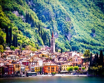 Varenna, Lake Como Italy, Varenna Village Photo, Multi Color Buildings, Mountains And Cypress Trees, Waterfront, Wall Decor, Italy Travel