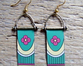 Recycled  tin earrings ,