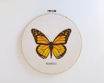 Butterfly cross stitch pattern - Monarch butterfly - modern cross stitch pattern PDF - Instant download