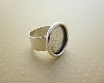 Ring cabochon plated Silver 925 sterling silver 18 mm antiqued - ABSAV18 0532