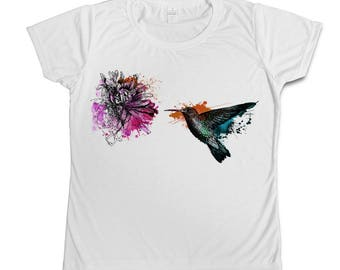 Humming bird watercolour T-shirt