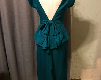 Amazing 80s Deep-V Back Teal Dynasty Style Cotton Dress With Bustle Bow