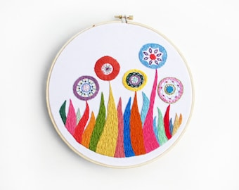 15% OFF SALE - Colorful Rainbow Embroidered Flower Garden in All the Colors 8 inch Embroidery Hoop Wall Art by SometimesISwirl