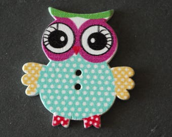 Fancy OWL large wood 33 x 35 mm OWL button.