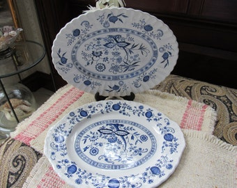 2 Ironstone Blue White Nordic Onion Platters J G Meakin England Wedgewood Heritage Vintage Decor