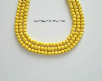 Yellow Necklace, Statement Necklace, Beach Wedding Jewelry, Multi Strand Necklace, Chunky Bib Beaded Layered Necklace summer party