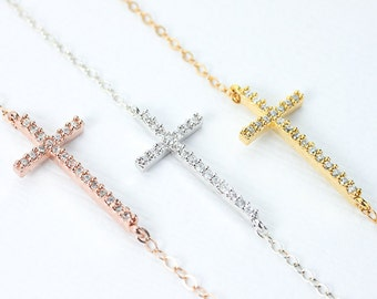 Cross Necklace. Kelly Ripa's  sideways cross Necklace. rose gold filled or gold filled or sterling silver cross jewelry.