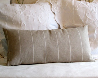 LINEN STRIPES designer lumbar bolster pillow 13x26 with insert