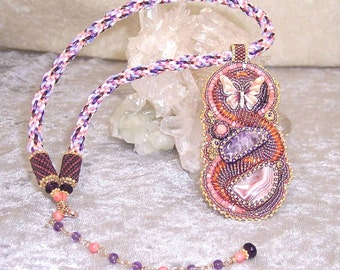 CORAL BUTTERFLY - OOAK Bead Embroidered Necklace in Coral and Lavender
