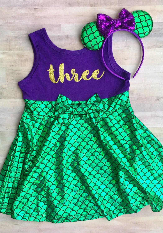 Mermaid Dress Girls / Little Mermaid Birthday Outfit / Mermaid
