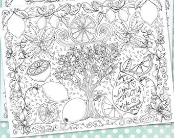 DIY Printable, Lemonade Adult Coloring Book Page, Hand Drawn Illustration, Instant Download, Adult Colouring Sheet, Art Therapy