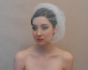 Bridal Double Layer Tulle and Russian Birdcage Veil in Ivory or White - Ready to ship in 3-5 Business Days