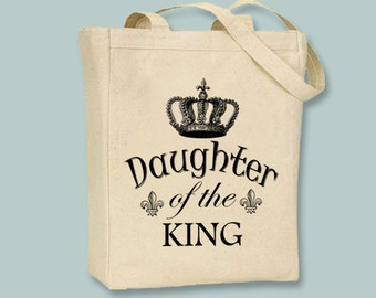 Daughter of the King with Vintage Crown image Natural or Black canvas tote - selection of sizes available