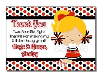 Cheerleader Thank You Card Birthday Red and Black - DIGITAL or PRINTED