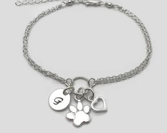 Sterling Silver Personalized Paw Bracelet - Pet bracelet, Personalised bracelet, Adjustable bracelet, Personalised Paw Jewellery