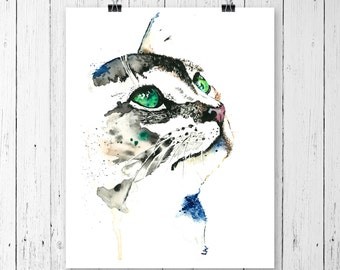 Cat Painting, Animal Portraits, Cat Artwork, Pet Love, Gifts For Cat Lovers, Cats, Cat Art, Cat Gifts, Watercolour, Pet Art, Cat Poster