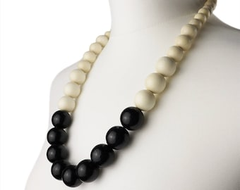 Black and White long chunky necklace | Black and White wooden bead necklace