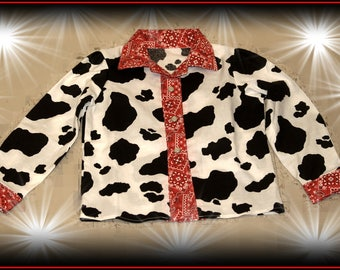 Polka Dot and Cow Print, Red Bandana or Pink Bandana and Cow Print Snap down Embellished Top ONLY