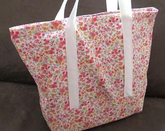 FREE SHIPPING ALWAYS - Small Floral Print tote bag, cotton bag, reusable grocery bag, knitting project bag, beach bag, Green Market bag