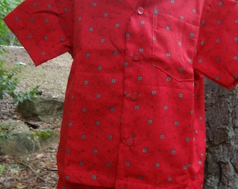 Toddler Boys Soft Button Down Shirt and Shorts, Original Outfit - Matching Father Child - Red with Slate Accents - Ethan 2967