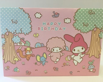 My Melody picnic in a forest pop up birthday card with pink envelope