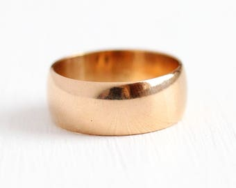 Antique Wedding Band - 14k Rosy Yellow Gold Ring - Size 5 1/2 Victorian Edwardian Fine Classic Minimalist Cigar Bridal Stacking Jewelry