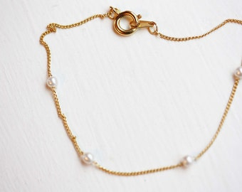 Pearl Chain Bracelet, Gold Chain Bracelet, Pearl Bracelet, Small Gold Chain, Delicate Gold Bracelet, Beaded Bracelet, Bridal Bracelet, Chain