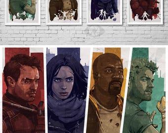 MARVEL'S THE DEFENDERS - Daredevil - Jessica Jones - Luke Cage - Iron Fist - Netflix - Comic Book Super Heroes - T.V. show - Art Poster Set