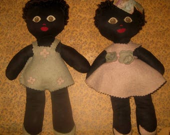 Vintage Cloth Brother and Sister Dolls
