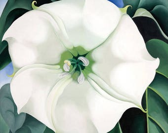 Jimson Weed White Flower No. 1 Painting by Georgia O'Keeffe Art Reproduction