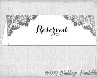Reserved Card Template Flower Burst Printable - Reserved place card template