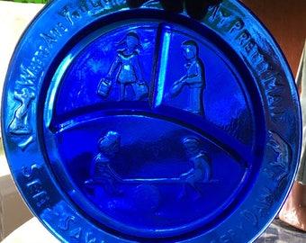 Vintage blue glass child's plate