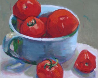 Original Still Life Oil Painting//Green Bowl of Red Tomatoes//8 x 8 Canvas with Painted Sides and Wire Hanger//Janet Ramble Artist