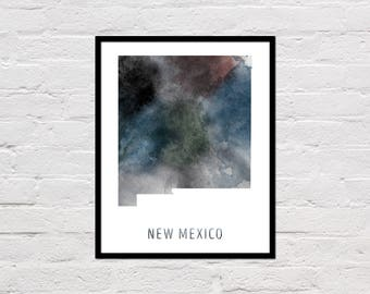 New Mexico Map Print, New Mexico Art Print, New Mexico Printable Wall Art, Watercolor Map, New Mexico Poster, New Mexico State Map, Download