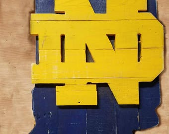 Notre Dame State of Indiana Pallet Wood Sign